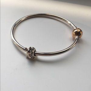 Pandora moments bangle, gold and silver